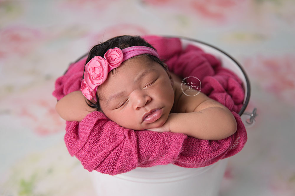 a photo of a newborn baby girl in a bucket