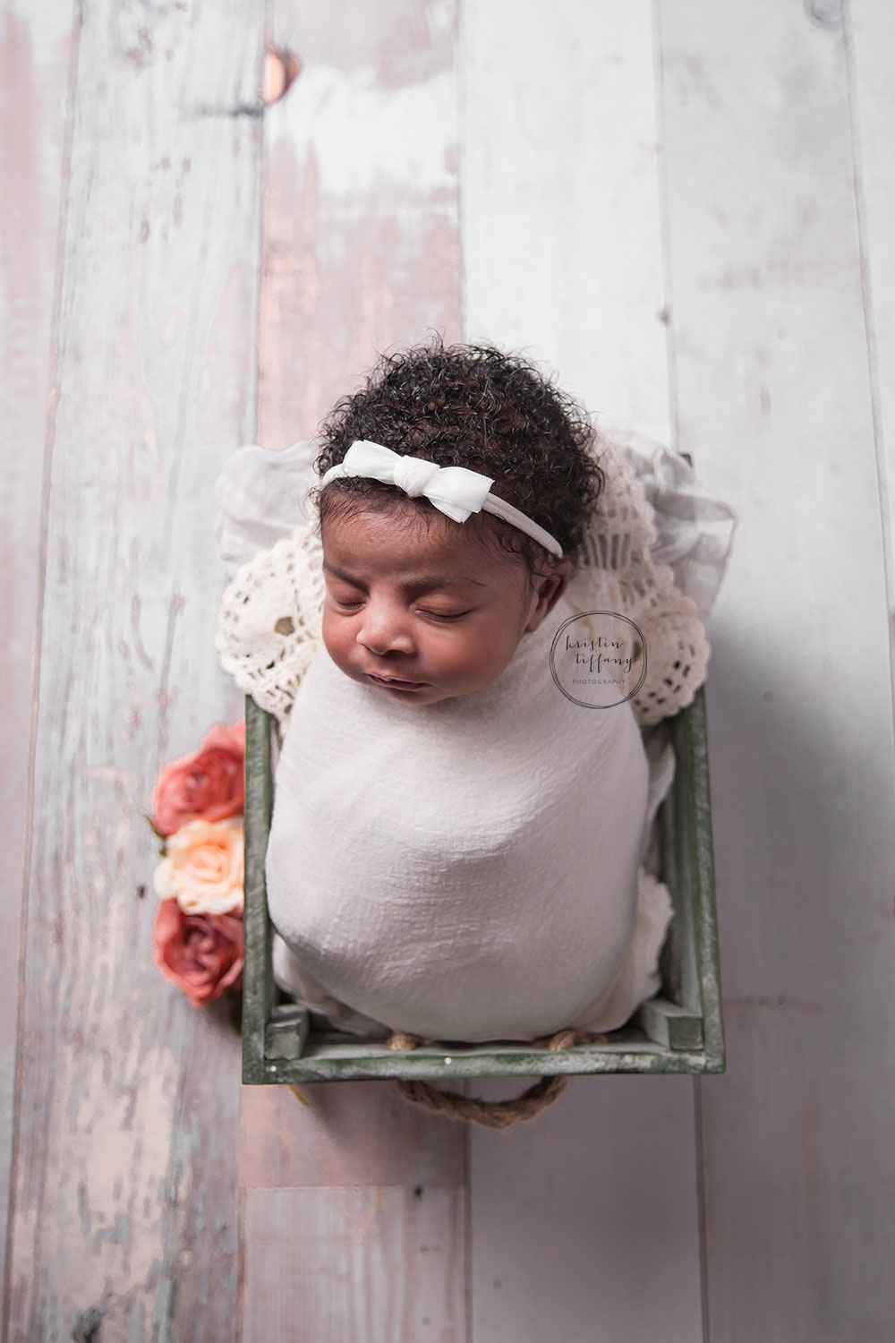 a photo of a newborn baby girl at a posed newborn session