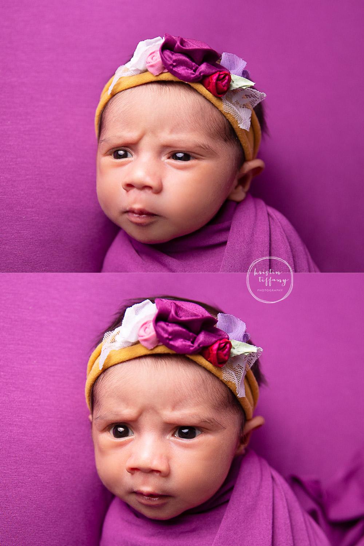 a photo of a wide awake newborn baby girl
