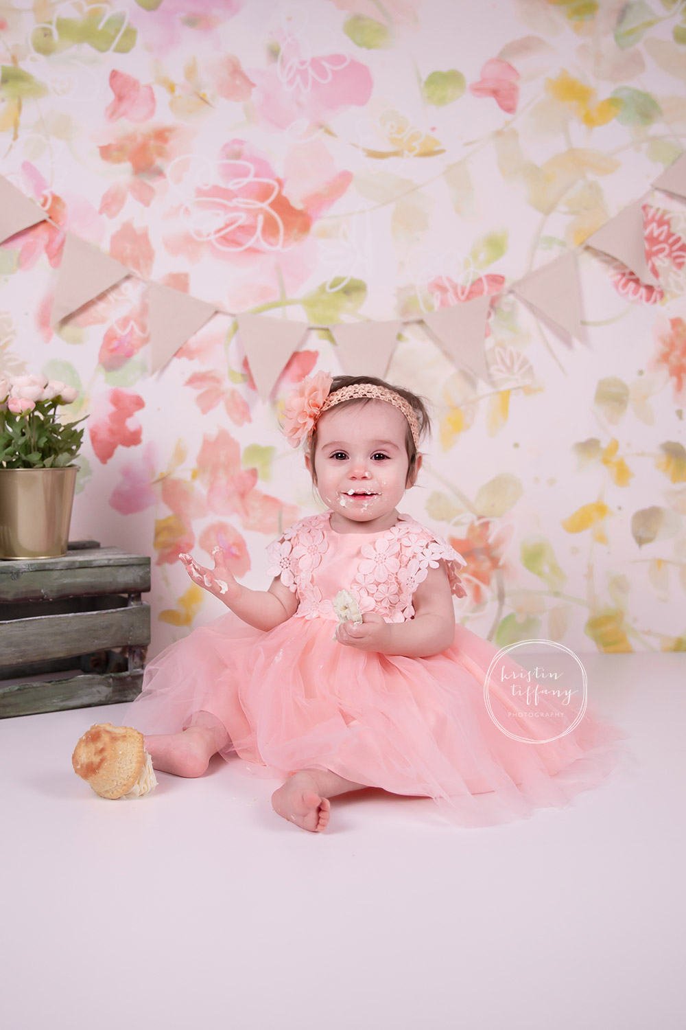 a photo of a baby girl at a cake smash mini session