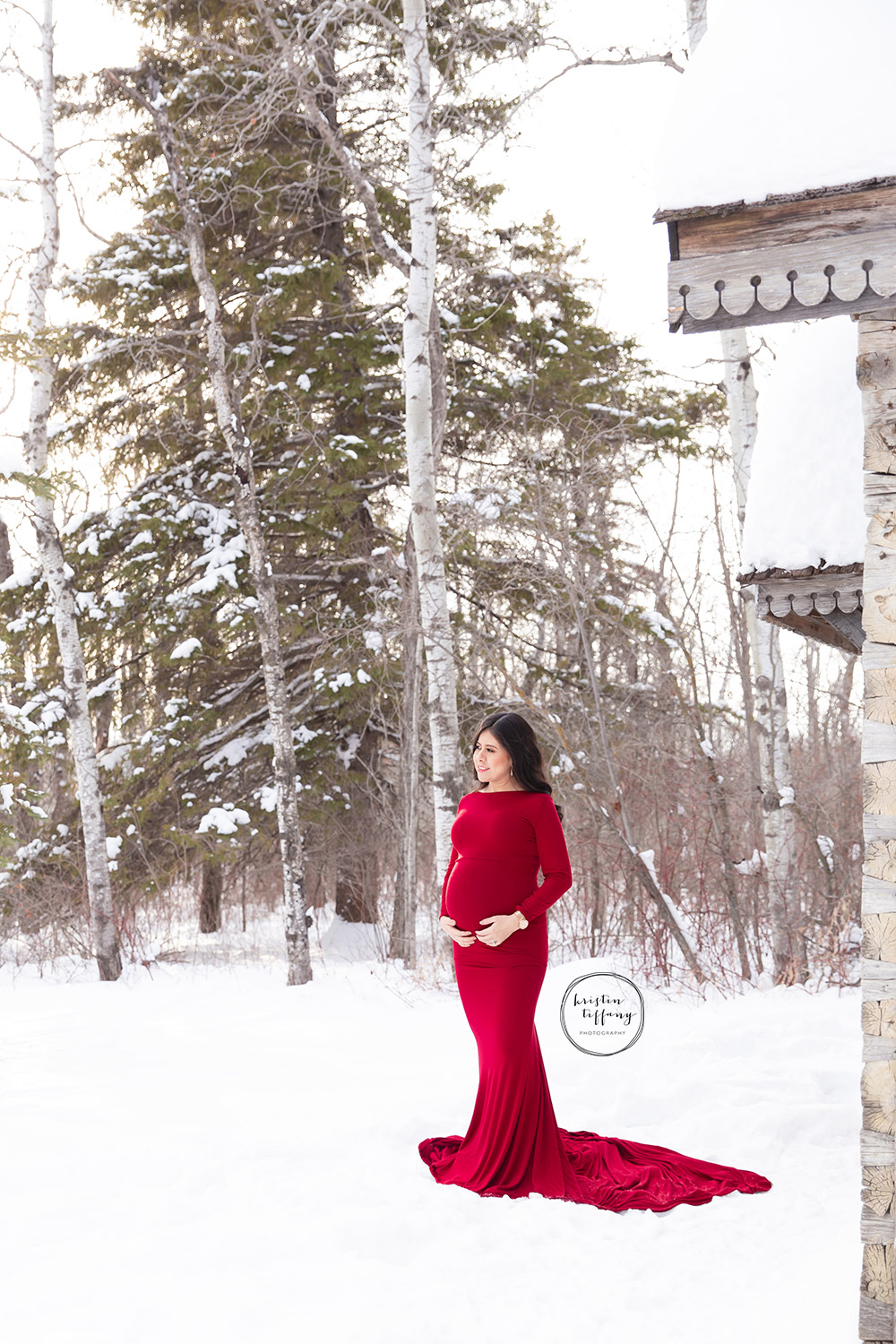 a maternity photo of a woman in a red gown in the snow