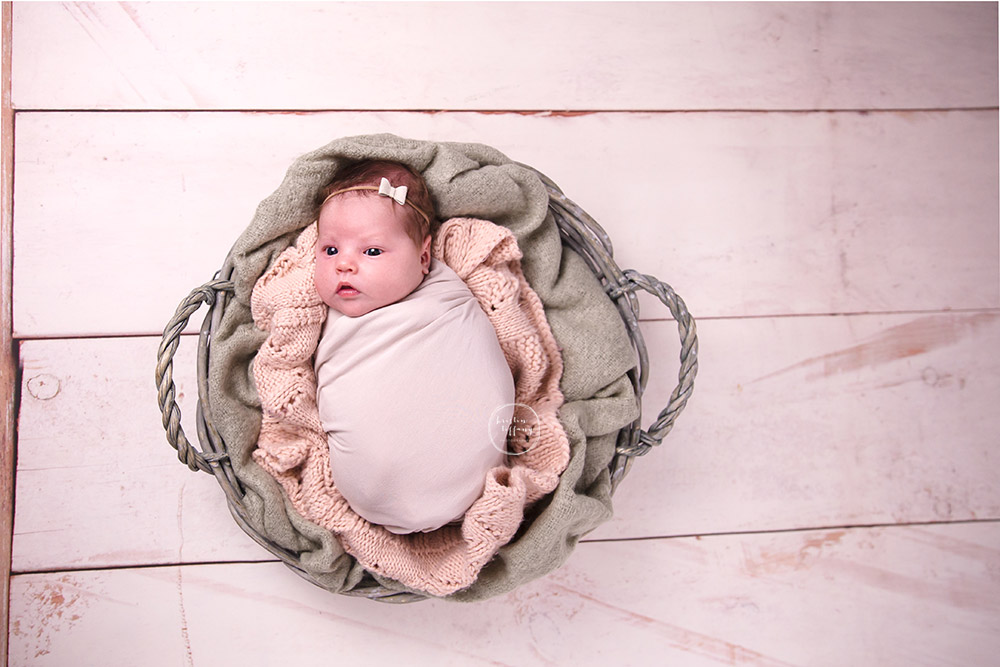 a photo of a newborn baby girl swaddled in a basket
