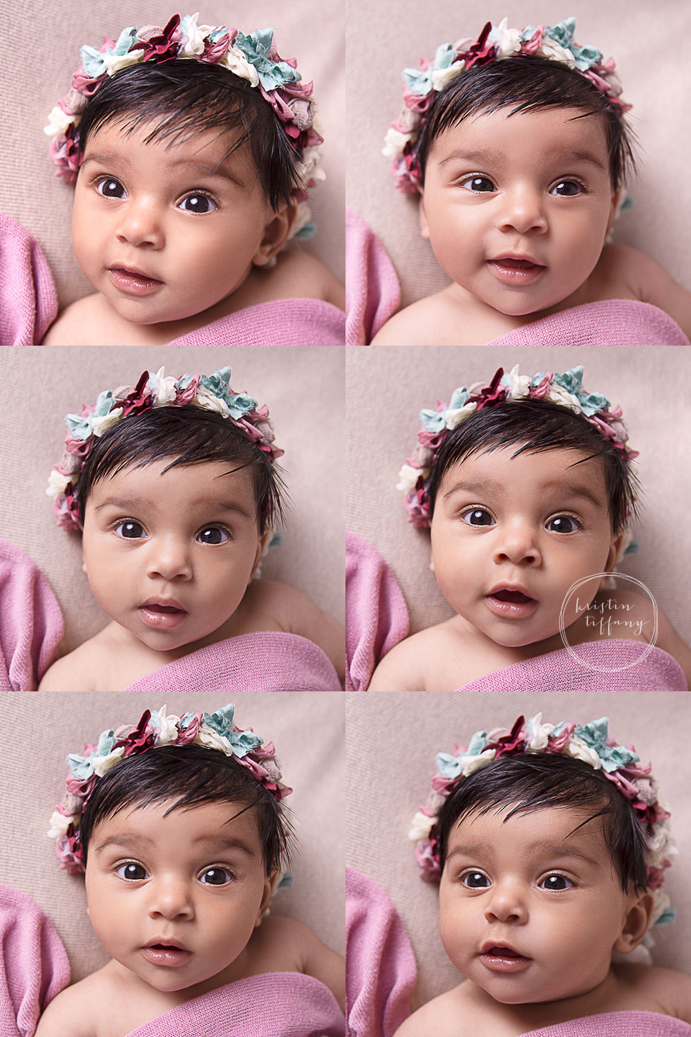 a photo collage of a baby girls expressions