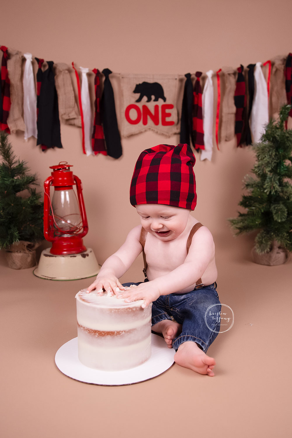 a photo of a baby boy at a one year cake smash