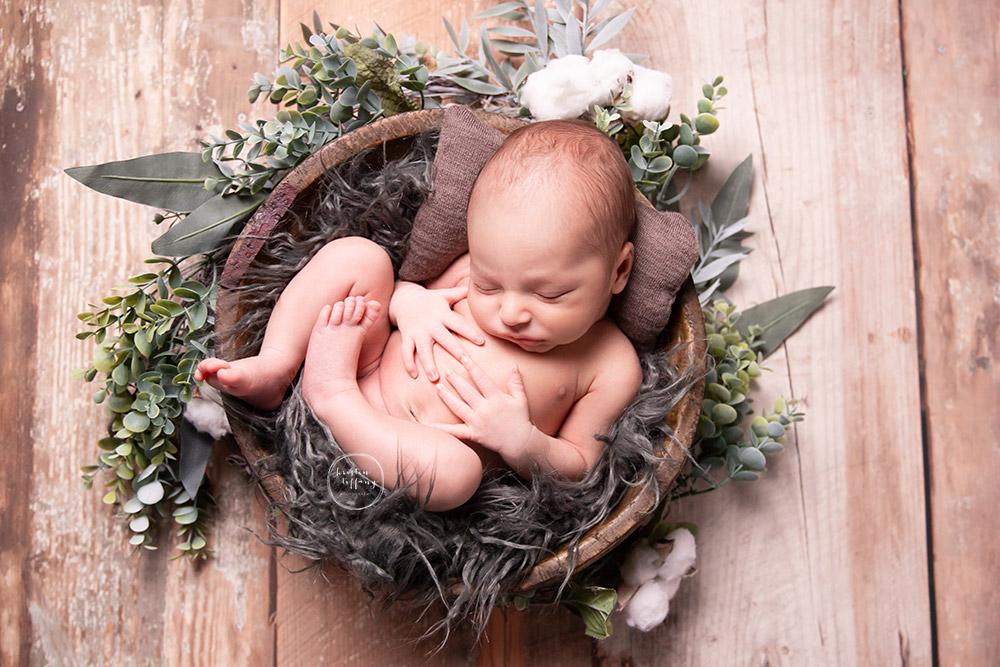a photo of a newborn baby boy at his newborn photoshoot