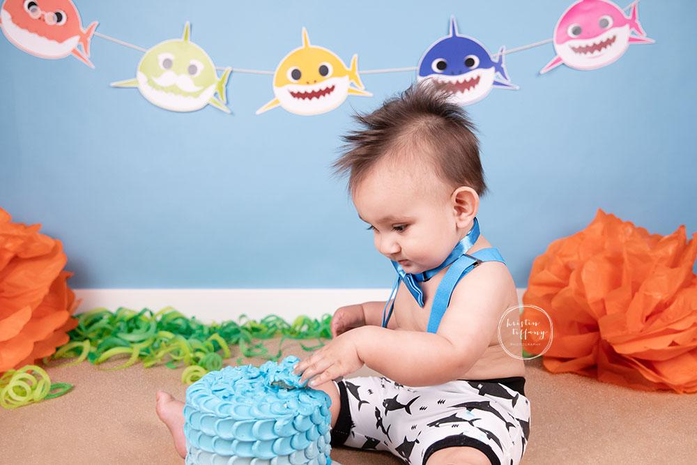 a photo of a baby boy at his baby shark cake smash photoshoot