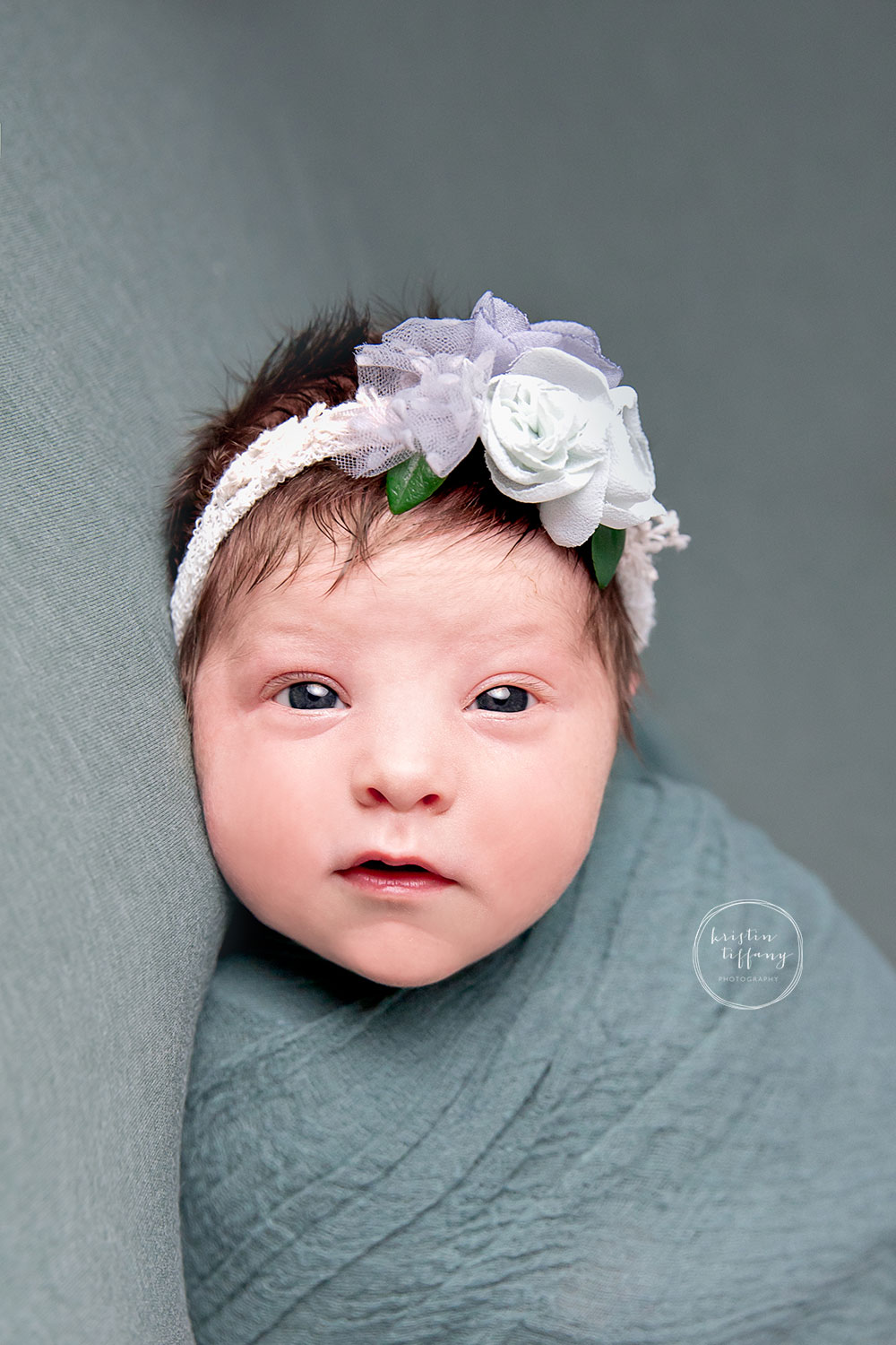 a photo of a newborn baby girl at her newborn photo session