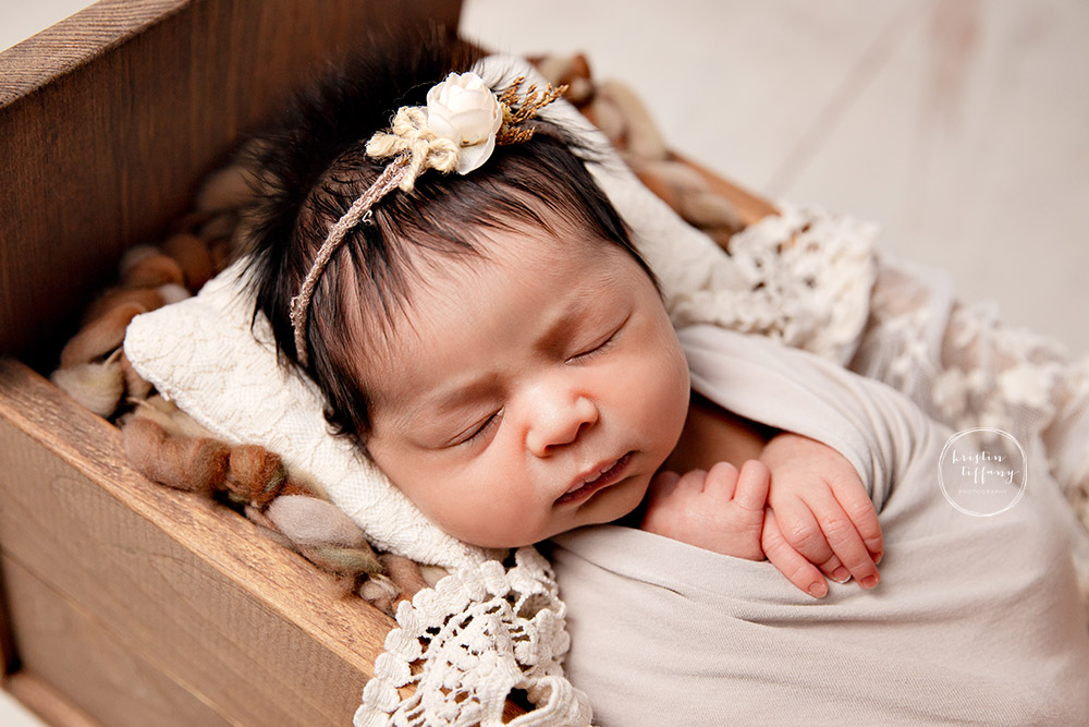a photo of a baby girl at her newborn photo session